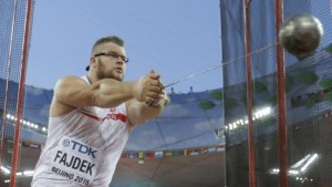 Poland's Pawel Fajdek competes in the men's hammer throw final at the World Athletics Championships at the Bird's Nest stadium in Beijing, Sunday, Aug. 23, 2015. (AP Photo/Lee Jin-man)